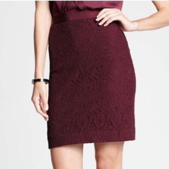 ee5039110b2ed Ann Taylor Skirts | Size 12 Burgundy Lace Pencil Skirt | Poshmark